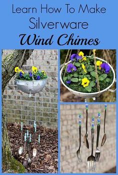 Garden Designs Objects Ideas 2018 : How to make silverware wind chimes out of commonly found thrift store items! This simple tutorial takes you step by step into repurposing vintage silverware into an inexpensive and fun piece of garden art. Wind Chimes Craft, Vintage Gardening, Fairy Gardening, Greenhouse Gardening, Organic Gardening, Outside Decorations, Garden Junk, Vintage Crafts, Vintage Diy
