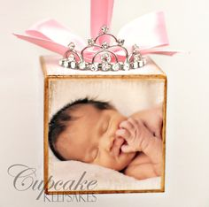 Personalized Pink Princess Tiara Birth Announcement Photo Baby Block Ornament Shower Gift Girl Nursery Decor