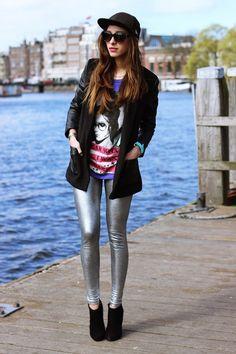 Metallic silver leggings