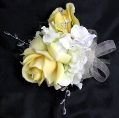Corsage Natural Touch Yellow Rose and Rosebud Hydrangea