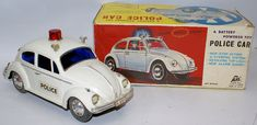 Vintage Battery Operated #5731 VW VOLKSWAGEN Police Car in box, by Alps Japan