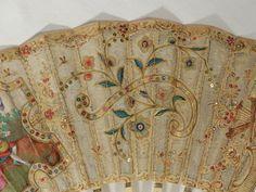 Grand Éventail XVIII ÈME Siècle Gouache Sequins Musiciens French FAN Ancien | eBay