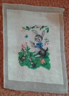 Vintage Needlecraft Embroidery Needlepoint Finished Unframed Bunny 8 1/2 x 11