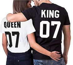 King Queen Couple Shirts Tee Shirt pour Roi Reine Coton Tshirt