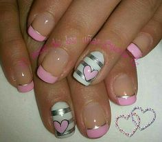 Solar Nail Designs, White Nail Designs, Cool Nail Designs, Sexy Nails, Cute Nails, Pretty Nails, Pink White Nails, Pink Nails, Mickey Mouse Nail Art