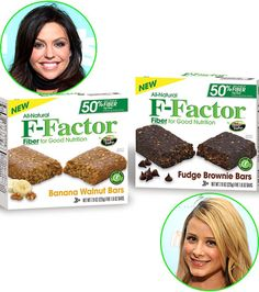 high-fiber line of snack bars as part of her F-Factor Diet. Flavors like Cinnamon Apple and Fudge Brownie help you stay full without overindulging.  To buy: $4.99, Kroger's