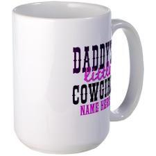 Custom Daddy's Little Cowgirl Large Mug