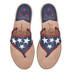 Show your patriotism with our Exclusive Star Spangled Sandal. Featuring embroidered white stars on the navy leather upper and red whipstitching. Shop now! Cute Sandals, Shoes Sandals, Beach Sandals, Women Sandals, Exclusive Shoes, Shoe Boots, Shoe Bag, Shoe Closet, 4th Of July Outfits