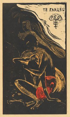 Paul Gauguin, Te Faruru (To Make Love), 1894/1895, woodcut printed in orange, red, and black on paper, by Louis Roy, image: 35.8 x 20.5 cm, National Gallery of Art, Washington, Rosenwald Collection.