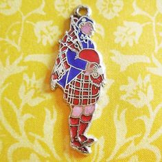 Vintage Enamel SCOTTISH SCOT TRADITIONAL GARB BAGPIPES Sterling Silver Charm #Charms