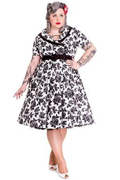 Hell Bunny Plus Victorian Gothic Black Rose Wide V-neck Collar Party Dress (XXXXL)