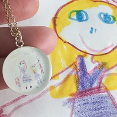 A personal favorite from my Etsy shop https://www.etsy.com/listing/275679886/mothers-day-gift-child-artwork-necklace