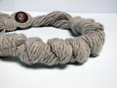 NATURAL pure wool   knotted necklace  Ready to ship by ylleanna, €35.00
