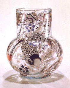@ Emile Gallé, Nancy, (1846-1904), Blown, Internal Inclusions, Etched and Enameled Glass Vase.