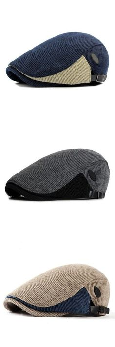 $11.50   Five Colors Men Woolen Knitted Beret Cap Adjustable Buckle Newsboy Cabbie Hat