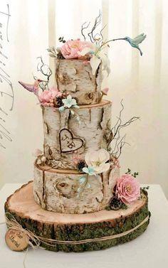 Houten taart  www.decoratietakken.nl