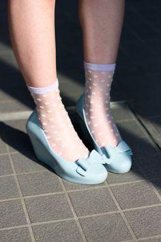 Melissa wedges + polka dots socks