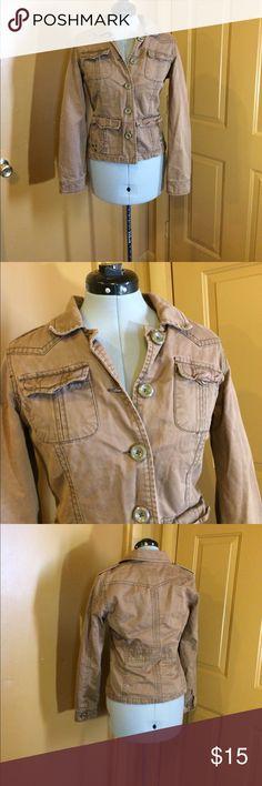Aeropostale jacket size unknown fits like medium Cute brown Aeropostale button front jacket. Size too faded to see... fits like medium. Adorable lightweight jacket GUC SMOKE FREE HOME DOG MOM. Aeropostale Jackets & Coats