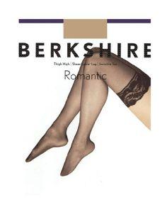 Berkshire Women's Romantic Lace Top Thigh High Pantyhose 1363, Black, C-D