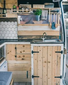 Vanlife Kitchen Setups Rustic kitchen setup that I love! I want a campervan interior like this! Love all of the storage and reclaimed wood.Rustic kitchen setup that I love! I want a campervan interior like this! Love all of the storage and reclaimed wood.