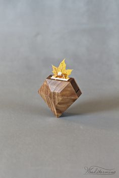 Modern faceted diamond shaped ring box – clean lines and original idea, beautiful ring display that hides the ring inside till that special moment and reveals it in very subtle way Wood Jewelry Display, Jewelry Stand, Jewellery Display, Jewelry Box, Ring Pillow Wedding, Wedding Ring Box, Unique Rings, Beautiful Rings, Wooden Ring Box