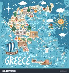 Travel infographic Vector stylized map of Greece. Travel illustration with greek landmarks building plants and traditional food. Travel Map Pins, Travel Maps, New Travel, Travel Posters, Food Travel, Heraklion, Greece Map, Greece Travel, Poster City