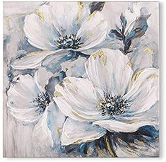 Studio 500 Museum Quality Canvas Art - The White & Blue Lily Pad of Flowers x Hand Painted Over the High Resolution Giclée Printing finished with Real Gold Leaf by Artist, GC Flower Painting Canvas, Flower Artwork, Abstract Flowers, Flower Paintings, Lily Painting, Oil Painting Pictures, Wall Art Pictures, Large Abstract Wall Art, Canvas Wall Art