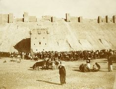 Aleppo's Citadel in 1910  Photograph, by German photographer,1910, 0f the entrance to the citadel of Aleppo