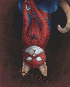 Moderne Cross Stitch Kit Spider kat door Jenny Parks door GeckoRouge
