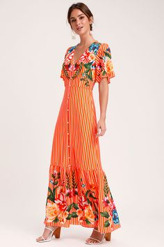 7ffcb19b2b1d The Lulus Roam the Riviera Orange Multi Striped Button-Up Maxi Dress was  made for a sunny day photo shoot! Striped sundress with a floral pattern  and ...