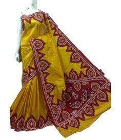 Yellow Silk Saree-Kantha Work LWZE010