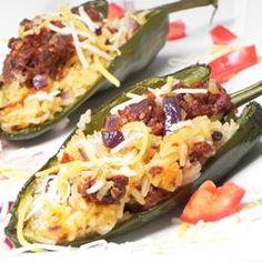 Chorizo (or chicken) stuffed poblano peppers