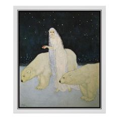 Snow Maiden and Polar Bears by Edmund Dulac 'Everything about her was white, glistening and shining'. Edmund Dulac illustration from The Dreamer of Dreams (1915). Cards, postcards and posters in all sizes.