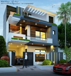 Best House Exterior Design to Fulfil Your Desire 3 Storey House Design, Bungalow House Design, House Front Design, Modern House Facades, Modern Exterior House Designs, Exterior Design, House Architecture Styles, Architecture Design, House Design Pictures