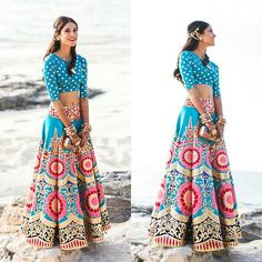 Get yourself dressed up with the latest lehenga designs online. Explore the collection that HappyShappy have. Select your favourite from the wide range of lehenga designs Indian Attire, Indian Ethnic Wear, Indian Style, India Fashion, Asian Fashion, Indian Dresses, Indian Outfits, Moda Outfits, Manish Arora