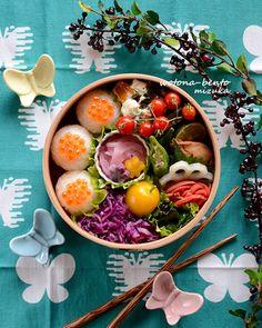5/2 鰆のすだち幽庵焼きといくらおにぎり弁当 Japanese Bento Box, Japanese Food, Temari Sushi, Asian Recipes, Healthy Recipes, Bento Box Lunch, Food Humor, Cute Food, Food Presentation