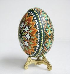 Pysanka, batik egg on chicken egg shell, Ukrainian Easter egg, hand painted egg ornament.via Etsy.