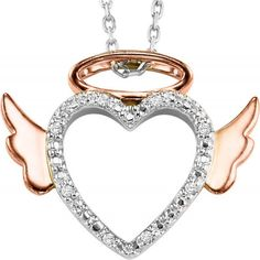 Sterling silver diamond angel pendant