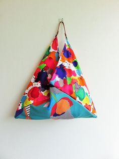 summer beach bag origami bento bag large tote bag most Triangle Bag, Gypsy Bag, Bag Hanger, Ethnic Bag, Embroidery Bags, Boho Bags, Handmade Purses, Craft Bags, Vintage Bags