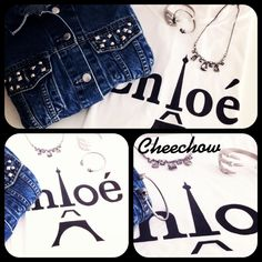 Chloe t-shirt,studded denim jacket,vintage necklace,bracelets