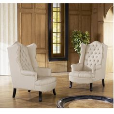 Baxton Studio Norwood Beige Fabric Upholstered Wing Back Accent Chair with Button Tufting