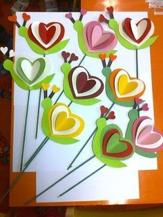 3D heart flowers - paper cut