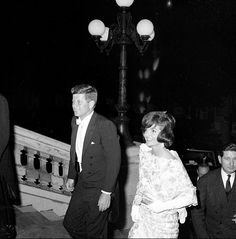 President and Mrs. Kennedy return to the Quai d'Orsay after the State dinner hosted by President and Mrs. de Gaulle.