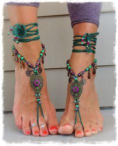 Woodland FAIRY BAREFOOT sandals Purple Forest Green por GPyoga