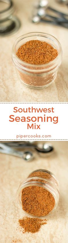 Southwest Seasoning Spice Mix - Piper Cooks Southwest Seasoning Mix – Easy homemade pantry staple, this spice mix is great on grilled vegetables, grilled chicken, roasted sweet potatoes, my slowcooker salsa chicken. Grilled Vegetables, Grilled Meat, Mixed Vegetables, Grilled Chicken, Baked Chicken, Homemade Spices, Homemade Seasonings, Spice Blends, Spice Mixes