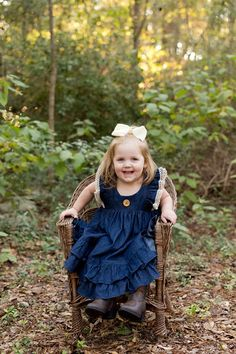 cute toddler girl photo with wicker chair, denim dress, woodsy background - Ocean Springs children's photographer Chair Photography, Portrait Photography, Girl Photos, Family Photos, Robertson Family, Ocean Springs, Cute Toddlers, Christmas Photo Cards, Photographing Kids