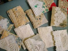More needlebooks from old quilt scraps and vintage crochet laces - love this idea.