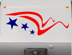 USA Flag Stars and Stripes RV Camper 5th Wheel Motorhome Vinyl Decal Sticker Graphic Custom Text Mural us008