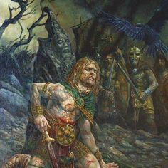 As a young boy Cúchulainn was known as Setanta, he's said to have been beautiful, bold and fearless. Deichtine is his mother & Lugh Lamhfada his father. He's wife was Emer, his lover Fand from the Otherworld, and Aife the mother of his son who he unwittingly murders. Known for 'warp spasm' or going ballistic in battle Medb brings about his death by a 'geis' (curse).