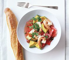 Just made for sticky days: a cooling salad featuring chunks of watermelon.